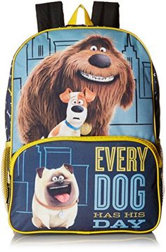 336a941cff The Secret Life of Pets Big Boys Universal Multi Compartment 16 Inch  Backpack Blue One Size