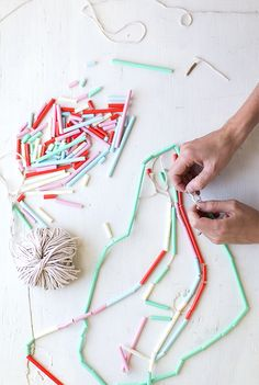 summer kid crafts.  necklaces made from cut up STRAWS! Genius tips on Say Yes