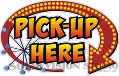 """14"""" Pick Up Here Concession Trailer Ice Cream Food Truck Restaurant Sign Decal"""
