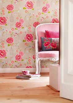 Fun wallpaper and a great new look for an antique chair.
