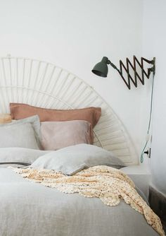 thisoldapt:  No room for a nightstand to hold your reading lamp? Old-school accordion sconces are the answer. -MB