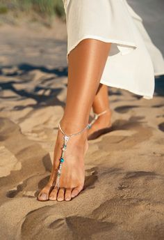 Blue Wedding barefoot sandals Bridesmaid barefoot by BarmineClub