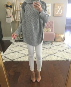 Faux-Suede-Detail Poncho Sweater, white cropped jeans, Claara Block Heel Sandals - click the photo for outfit and room details!