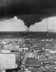 Dallas Times Herald Photo- Oak Cliff getting walloped by a tornado in 1957. ** I remember seeing this from my yard in Richardson several miles to the north. **