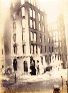 The full scope of the destruction caused by the Knowless Building Fire, corner of Main and High Streets, Worcester Massachusetts. Photograph from the E. Worcester Massachusetts, Destruction, Maine, Photo Wall, Photograph, Corner, Street, Building, Collection
