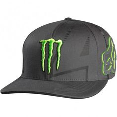 Monster Energy Drink Officially Licensed Fox Ricky Carmichael Replica Youth Boys Flexfit Casual Hat - Charcoal / One Size Monster Energy Clothing, Fox Racing Clothing, Motocross Clothing, Monster Hat, Flex Fit Hats, Custom Caps, Accesorios Casual, Cool Hats, Snapback Hats