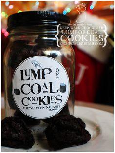 "Cupcake Rehab - Lump of coal cookies: double dark chocolate brownie-tasting ""coal"""
