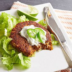 Bean and sweet potato patties with lime-jalapeno cream