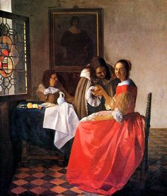 Johannes Vermeer (Dutch [Baroque, Dutch Golden Age] The Girl with a Wineglass, circa Herzog Anton Ulrich Museum, Braunschweig, Germany. Johannes Vermeer, Rembrandt, Baroque Painting, Baroque Art, Dutch Artists, Famous Artists, Art Du Temps, Vermeer Paintings, Oil Paintings