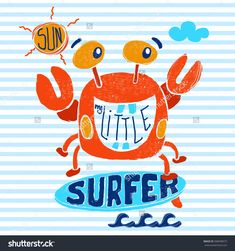 Cute crab surfer, ve