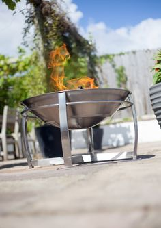 Stainless steel fire pit for use as a patio heater to keep you and your family warm allowing maximum use of your garden whatever the weather!