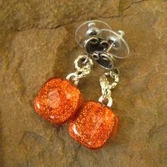 Dichroic Fused Glass Post Earrings Tangerine Orange by GlassCat, $20.00