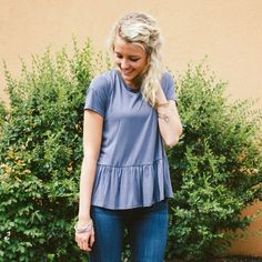 Soft Ruffle Top - Grey