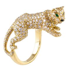 Cartier Panthere Pave Diamond Emerald Onyx Gold Ring