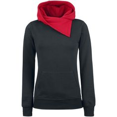 Black Contrast Trim Cowl Neck Hoody Sweater Pullover @ EMP $55 CUTE