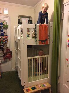 Model Of Kids Bunk Bed Design Ideas - lmolnar Bunk Bed Crib, Toddler Bunk Beds, Kid Beds, Boys Bedroom Ideas Toddler Small, Baby And Toddler Shared Room, Crib Bedding Boy, Kura Bed, Boho Bedding, White Bedding