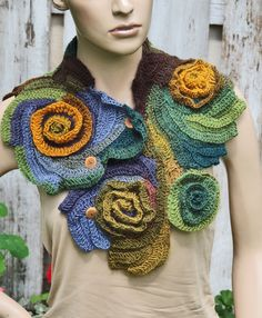 Crochet scarf Scarf Capelet Neck Warmer Brown Green by Degra2