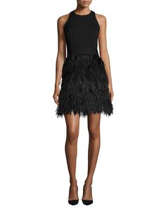 Blair Feather Dress by Milly at Bergdorf Goodman.