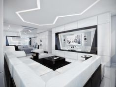 black white modern living room  design ideas 2016