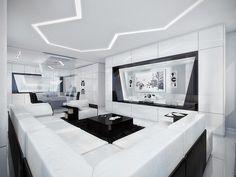black white modern living room  design ideas 2016