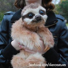 Baby Three-Toed Sloth --Handmade Poseable Creature by Heiditruth.deviantart.com on @DeviantArt