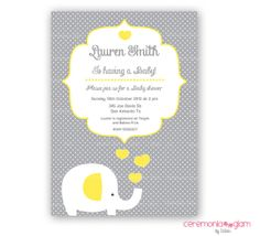 Baby shower boy or girl white elephant yellow and grey polka dot printable invitation