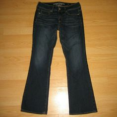 """American Eagle Kick Boot Jeans These jeans are preloved but still in very good condition. They are the kick boot style jean. Made of 70% cotton 16% viscose 12% polyester 2% elastane. Tag size is 6 Short. Inseam is approximately 29"""" long. American Eagle Outfitters Jeans Boot Cut"""