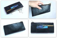 dark blue leather wallet by nastya klerovski