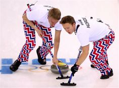 DAY 10:  Torger Nergaard and Haavard Vad Petersson of Norway compete during the Curling Men's Round Robin Session 10 - Great Britain vs. Norway