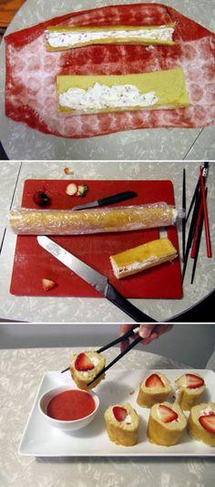 Strawberry Shortcake Sushi, hay que probar de hacer algo asi!!!