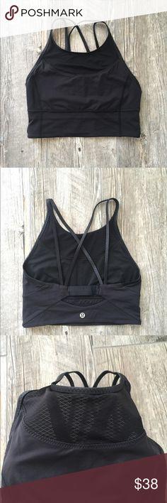 Lululemon crop top sports bra Gently worn. No signs of wear. Very comfortable. Beautiful detailing lululemon athletica Tops Crop Tops