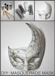 DAY 5 Costume Countdown: Grab a blank mask, some paint, and lots of glitter to create this DIY Masquerade Mask!! #DITD2012 #DIY