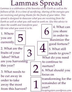 Spread found on Pinterest. Discover more about #tarot here: http://www.TarotAcademy.org  Lammas Spread