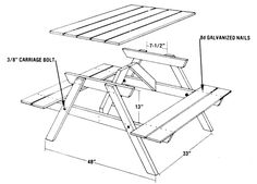 This basic picnic table design calls for five cutting patterns only, making it low-cost and easy to build.