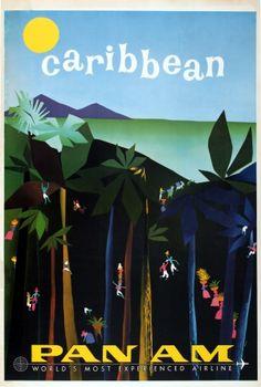 Caribbean PanAm Aaron Fine, 1950s - original vintage poster listed on AntikBar.co.uk