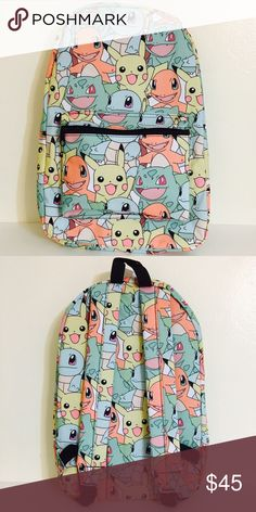 "Pokemon Pastel All-Over Print Backpack Gotta catch em all! Why not take your fellow Pokemon everywhere you go? Lovely pastel backpack with Pokemon print all over is available. Characters on the print include Pikachu, Charmander, and more! The measurements for this backpack are about 19"" (height) x 14"" (width). This backpack is officially licensed by Bioworld and is brand new and authentic! No trades or lowballs! Thank you! Bioworld Bags Backpacks"