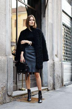 Giorgia Tordini in black and grey