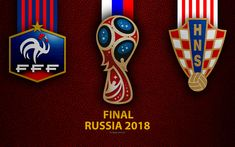 Download wallpapers France vs Croatia, Final, 4k, leather texture, logo, 2018 FIFA World Cup, Russia 2018, July 15, football match France Vs, Sports Wallpapers, Desktop Pictures, July 15, Football Match, Leather Texture, Fifa World Cup, Croatia, Finals