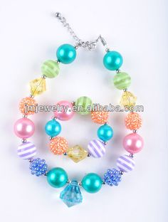 Hot selling DIY girl's chunky necklace with diamond pendent for kids' jewelry!Wholesale bubblegum bead necklace cheap! $1.8~$2.00