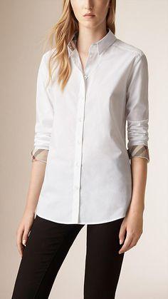 White Check Detail Stretch Cotton Shirt - Image 1