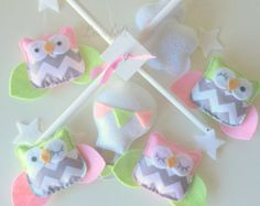 Baby Mobile - Owl Mobile - Pink and green mobile - Hot air balloon mobile - Pick your colors :)