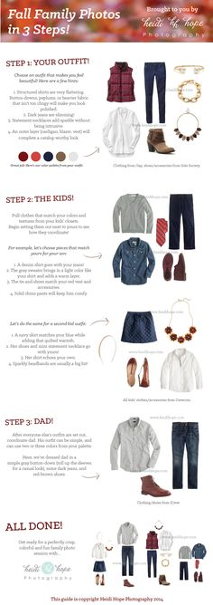 Fall Family Portrait Outfits in Three Easy Steps! By heidi Hope Photography… Fall Family Picture Outfits, Family Picture Colors, Family Portrait Outfits, Family Photos What To Wear, Fall Family Portraits, Fall Family Pictures, Family Pics, Family Posing, Fall Outfits