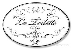 La Toilette White w/Black Oval Wood Sign at AllPosters.com