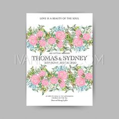 ef60ffcf1a1 Rose wedding invitation printable template with floral wreath or bouquet of rose  flower and daisy