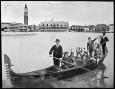 * William F. Cody (known as Buffalo Bill) touring Venice in gondola with four Native American chiefs (Circa 1904)