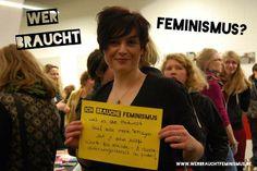 """""""Ich brauche Feminismus, weil es die Antwort auf alle meine Fragen ist & dabei hilft Worte für soziale & Geschlechterungleichheit zu finden!"""" (Elisabeth) #onebillionrising"""