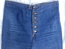 70's Chemin De Fer Jeans high waist bow tie buckle back 6 button front VTG bell