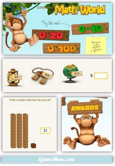 Fun Math Practice Website for Kids - use it as a guest for free! This website will help the students practice their math outside of school in a fun way. These math games are played with monkeys to help keep the students engaged. Learning Apps, Learning Activities, Kids Learning, Montessori, Learn Math Online, Fun Math, Math Games, Maths, Math Practices