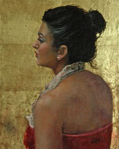 """""""Red Velvet and Gold"""" This portrait is 8' X 10""""  with genuine gold leaf painted in oil."""