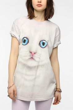 Urban Outfitters - The Mountain Kitten Face Oversized Tee